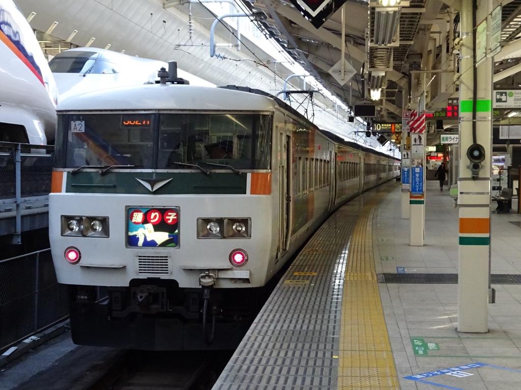 東京駅10番線に停車中の湘南ブロック色185系踊り子107号(2015/1/17)