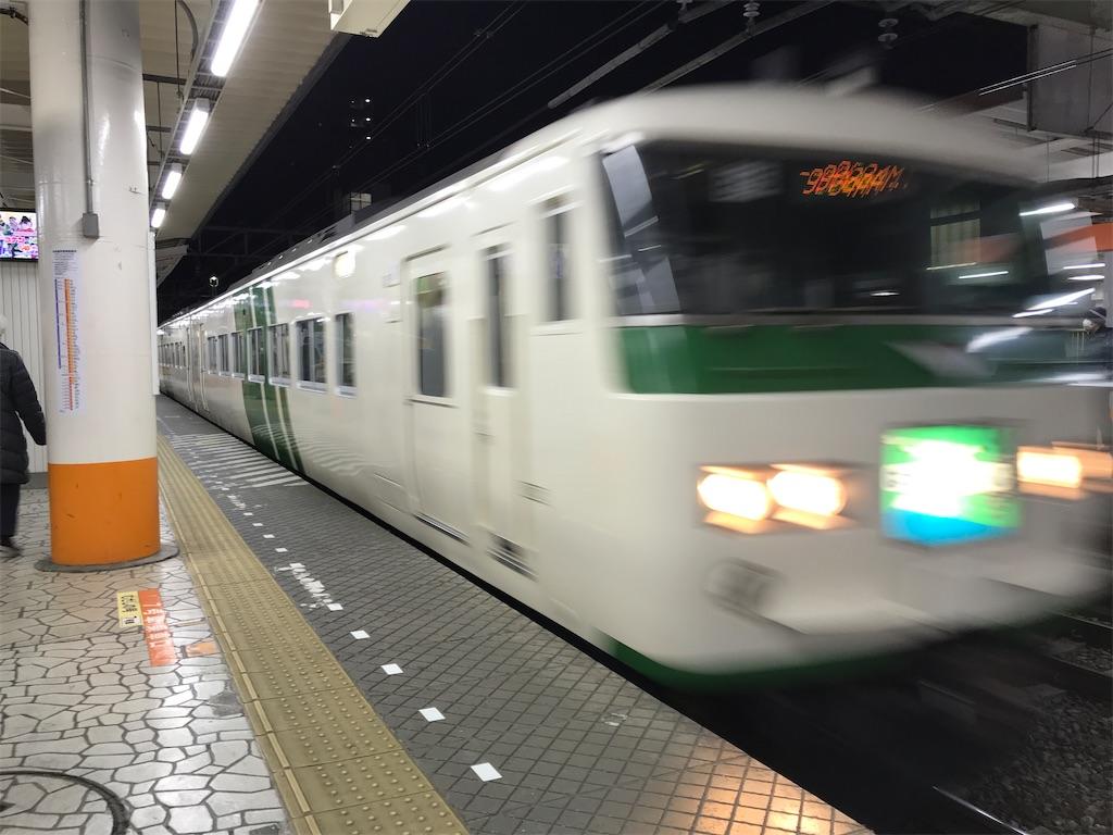 八王子駅3番線に入線中の特急はまかいじ号横浜行き(2019/1/2)