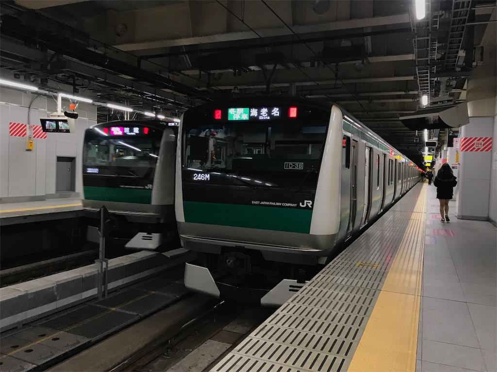定時運転時の、最後から2本目の相鉄直通列車@新宿駅2番線