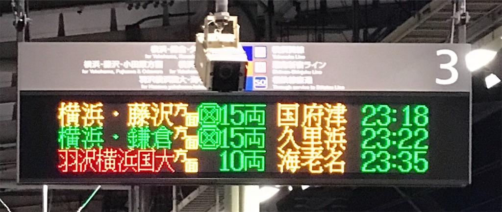 通常運転時、武蔵小杉駅23:14頃の3番線発車順序