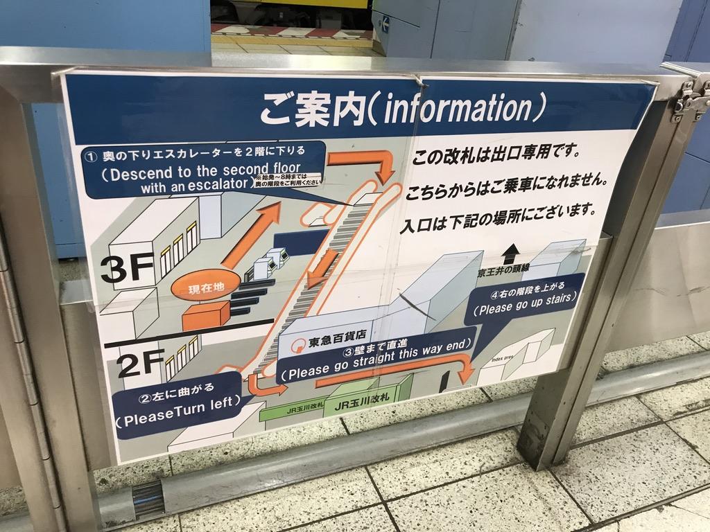 東急百貨店方面改札に掲示されいている乗車ホームの案内(2019/12/25)