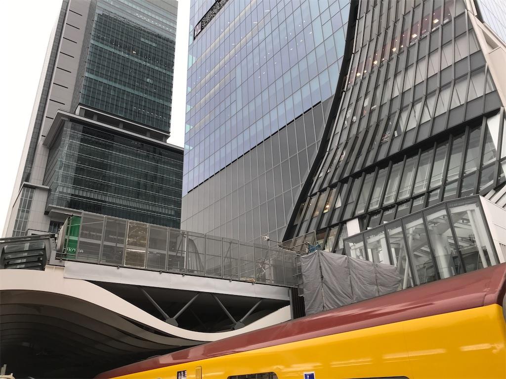 ホーム浅草側はヒカリエ・渋谷スクランブルスクエアのすぐそこ(2019/12/26朝)