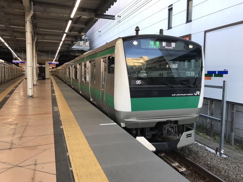二俣川駅を発車するJR直通・特急新宿行き(2020/1/1)
