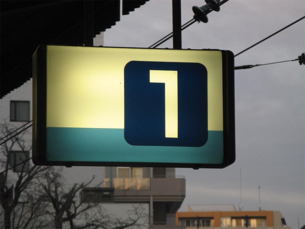 京急川崎駅1番線を示す看板(2008/1/3)