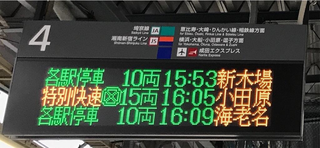 埼京線区間でも3文字の駅名が揃う機会は多い(渋谷4番線・2019/12/1)