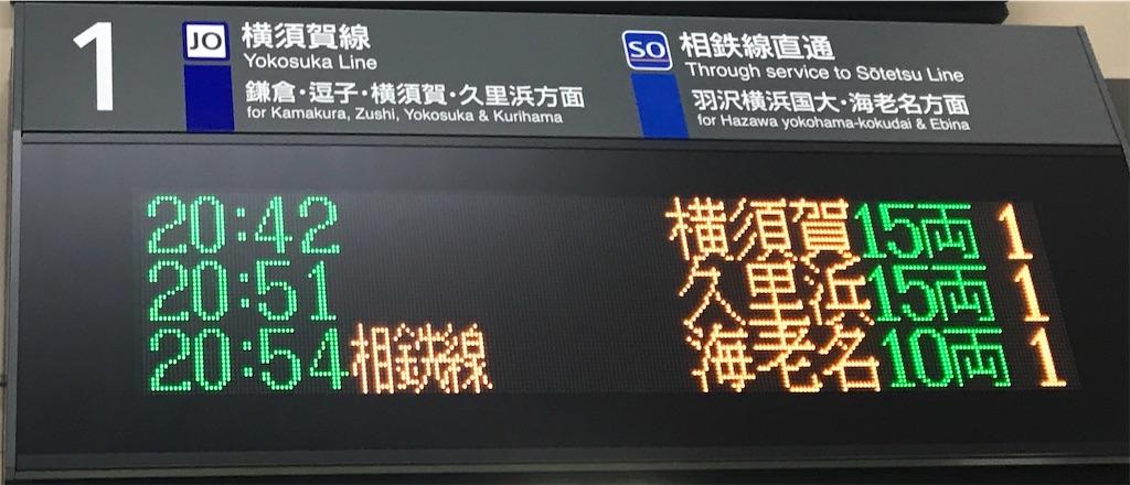 横須賀行きが来るタイミングでは西大井でも3種類の3文字が揃う(西大井1番線・2019/12/1)