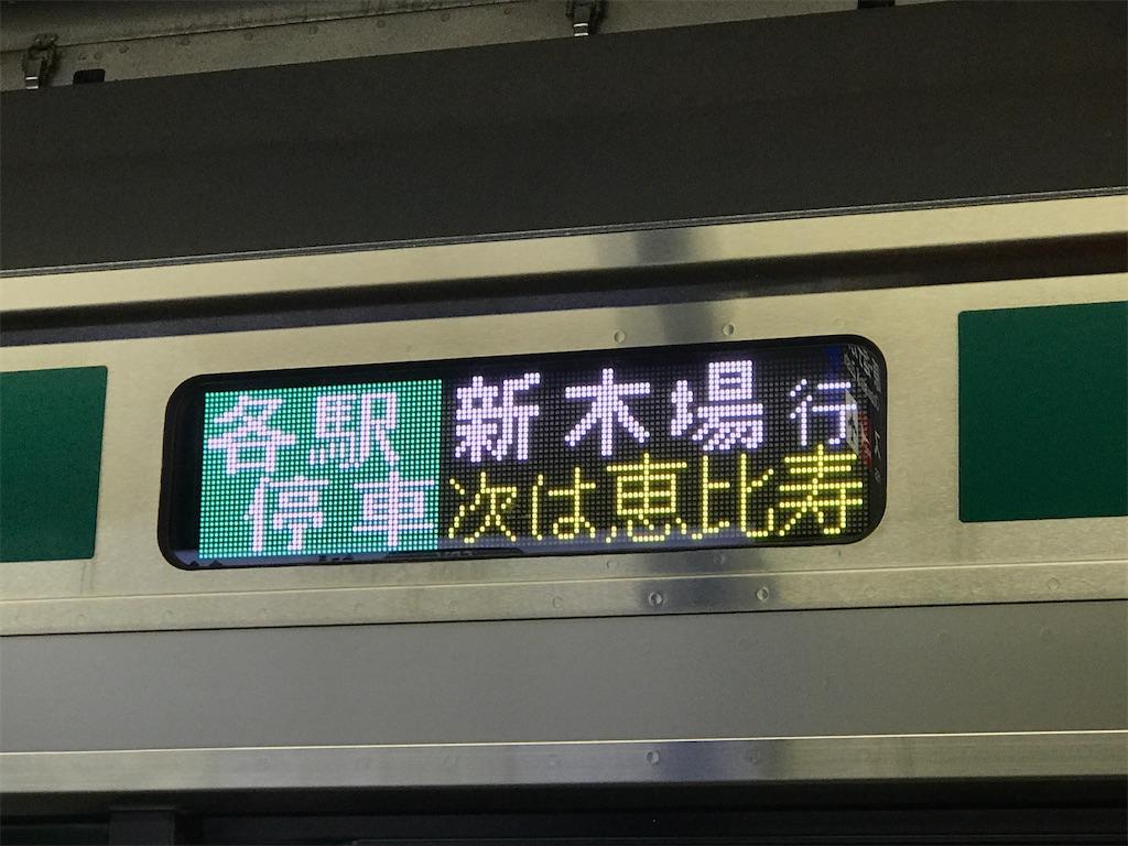 渋谷駅下りホームの場合、次の駅名も3文字である(2020/1/13)