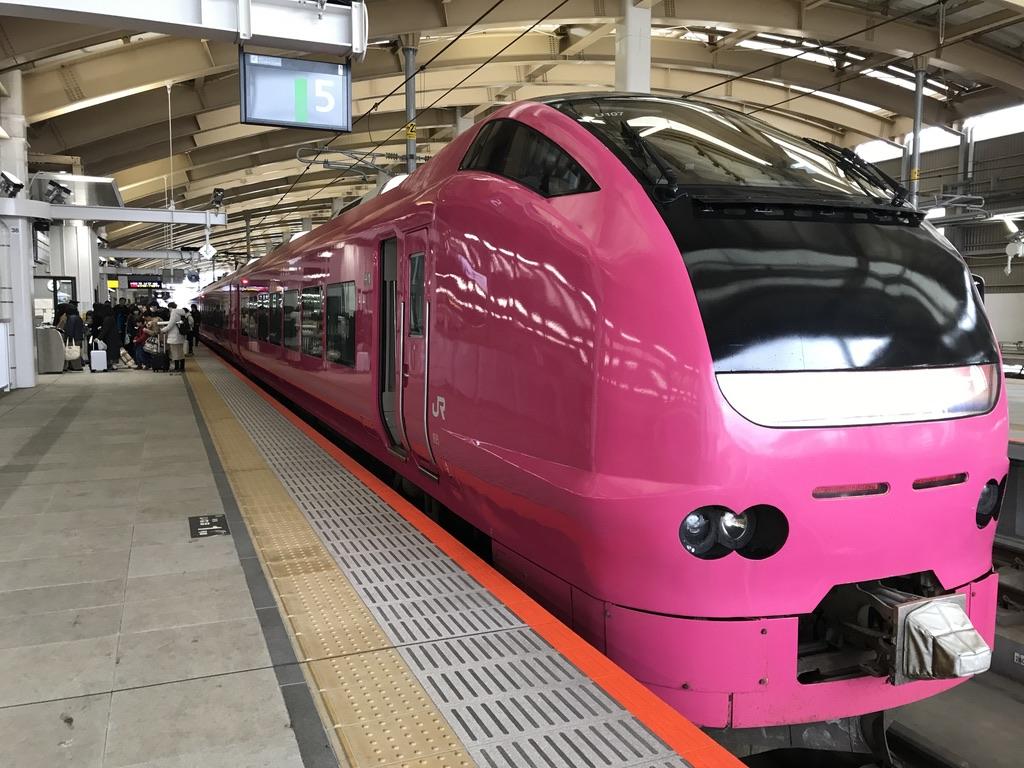 新潟駅5番線に到着した秋田始発いなほ8号・E653系ハマナス色(2020/1/13)