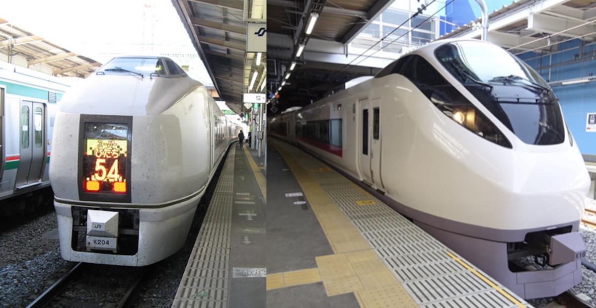 仙台駅に停車する651系スーパーひたち(2008)品川に直通するようになったE657系ひたち(2015)
