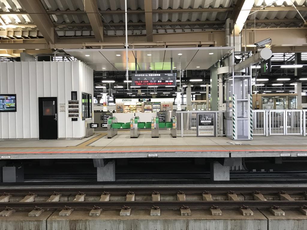 しらゆき5号到着直前の、新幹線のりかえホームへの改札は閉じていた(2020/1/13)
