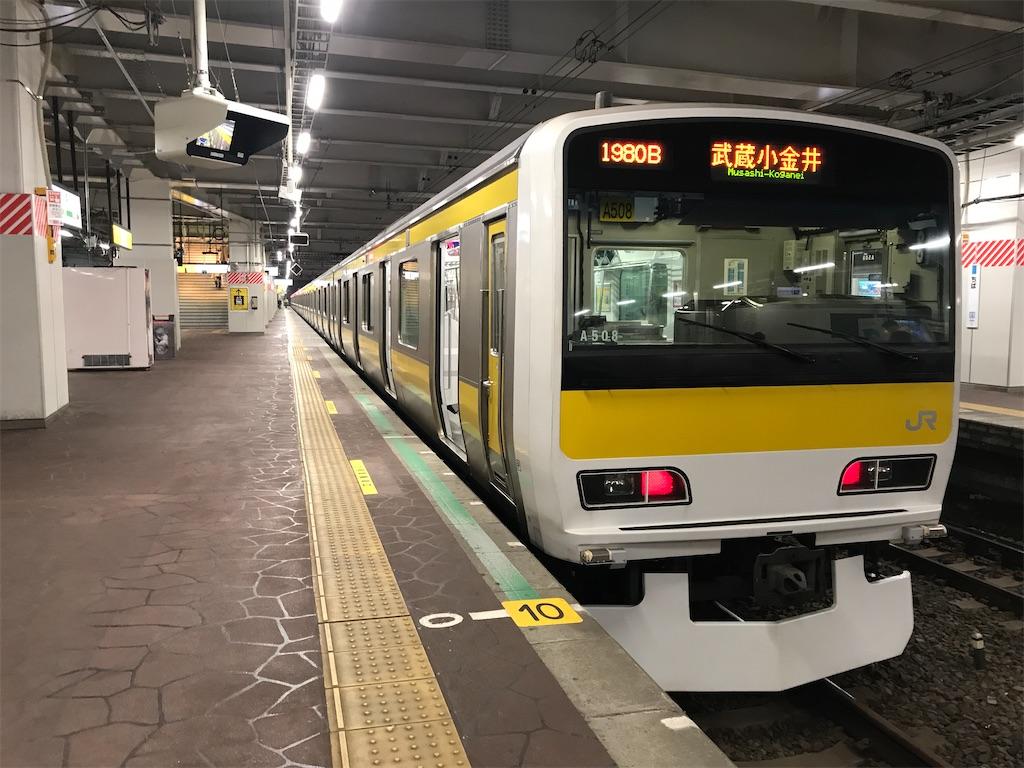千葉駅2番線に停車中の各駅停車武蔵小金井行き