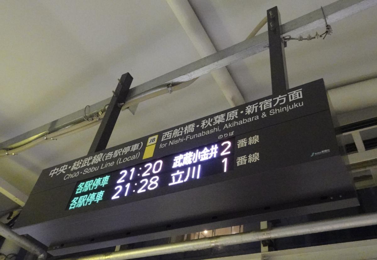 JR千葉駅西改札側の階段付近にある発車標 21:20武蔵小金井 21:28立川