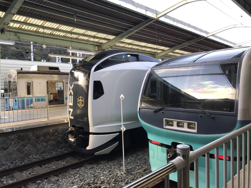 伊豆急下田駅に並ぶ251系、E257系、8000系(2020/2/11)