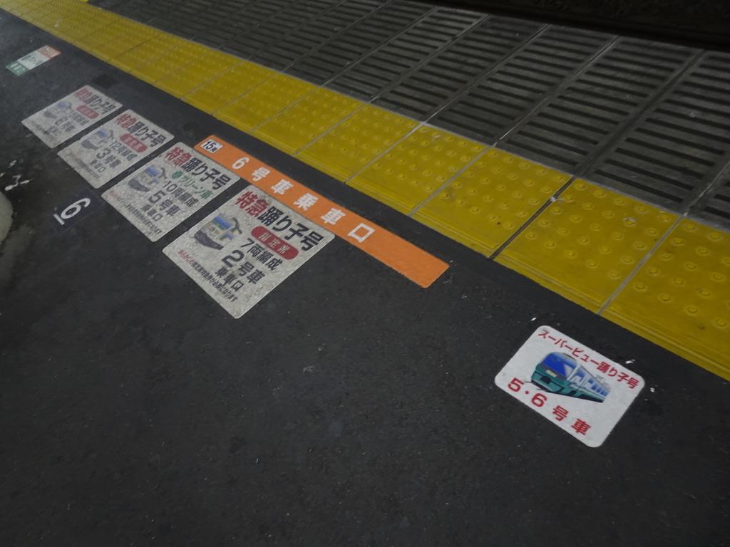 踊り子号・スーパービュー踊り子号の乗車位置案内(小田原駅4番線)