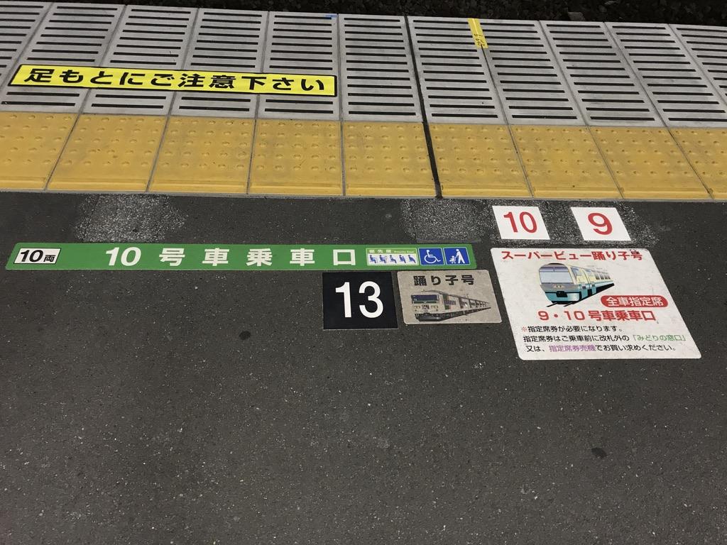 踊り子・スーパービュー踊り子の乗車位置案内(2020/2/10・熱海駅2番線)