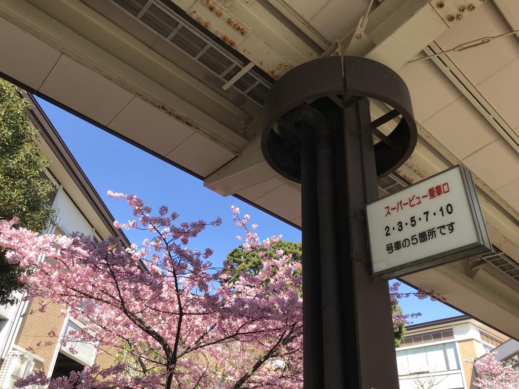 「スーパービュー乗車口」の案内(2020/2/11・伊豆高原駅3番線)