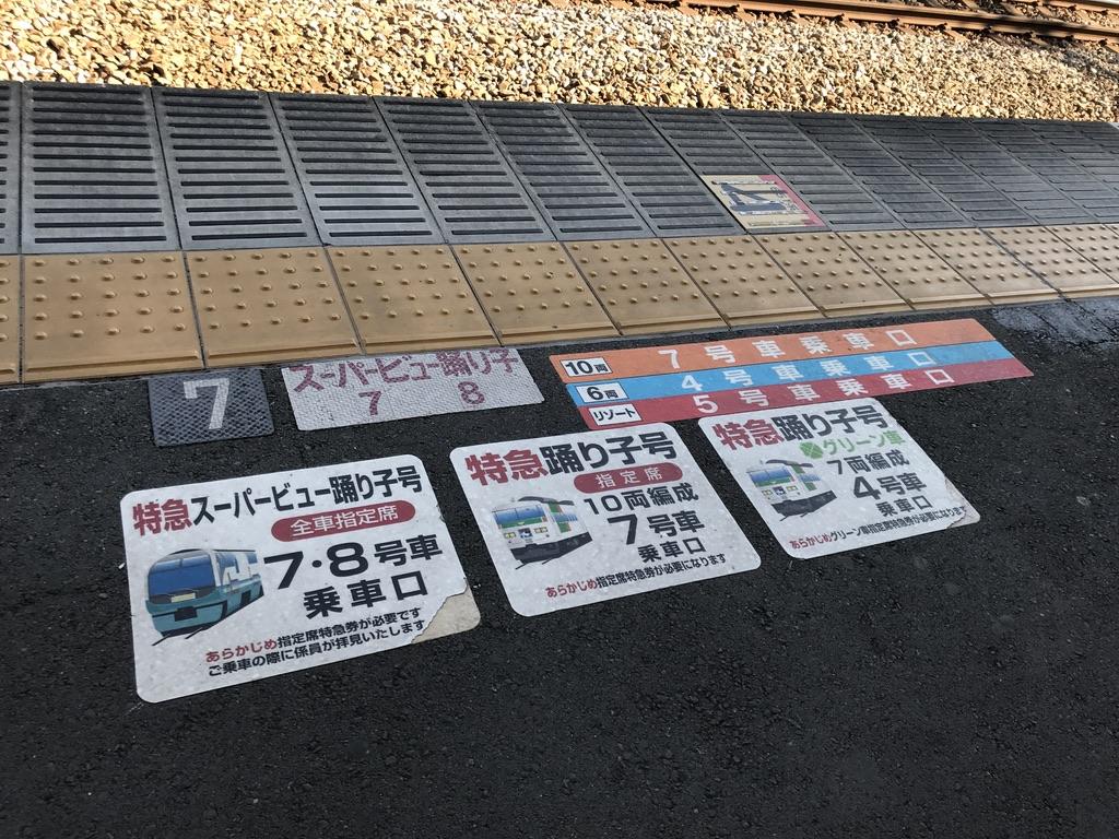 伊東駅2番線の乗車位置案内(2020/2/11)