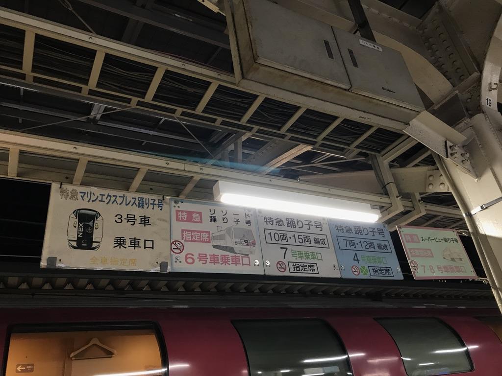 東京駅9番線頭上に掲示されている各種踊り子号乗車口案内(2020/2/14)