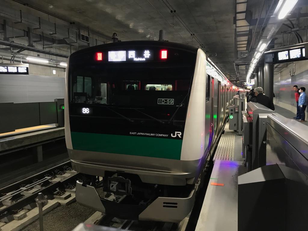 羽沢横浜国大始発下り方面の一番列車であるE233系各駅停車西谷行き(2019/11/30)