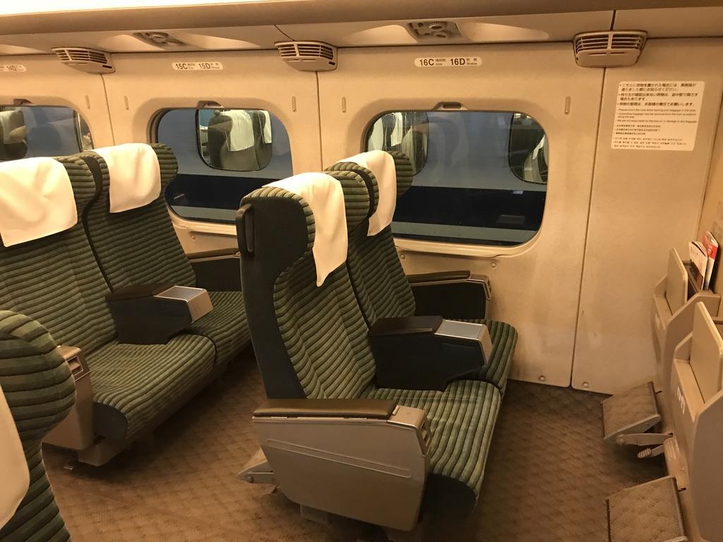 新大阪発車時点では空席だったグリーン車の先頭付近の座席(2020/2/16)