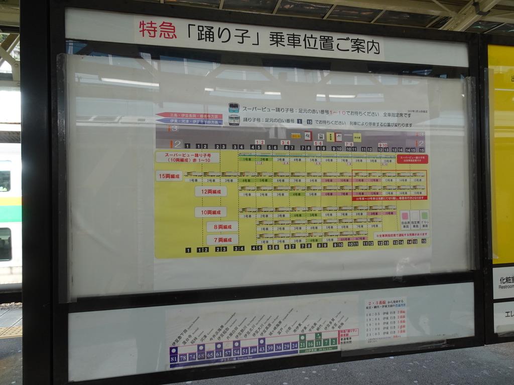 熱海駅2番線に掲示されている特急「踊り子」乗車位置ご案内(2020/2/22)