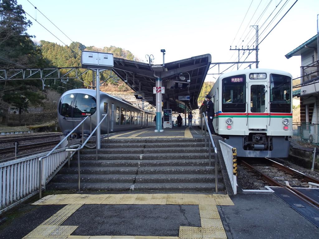 吾野駅を通過するLaview特急ちちぶ池袋行きと、停車中の4000系長瀞・三峰口行き