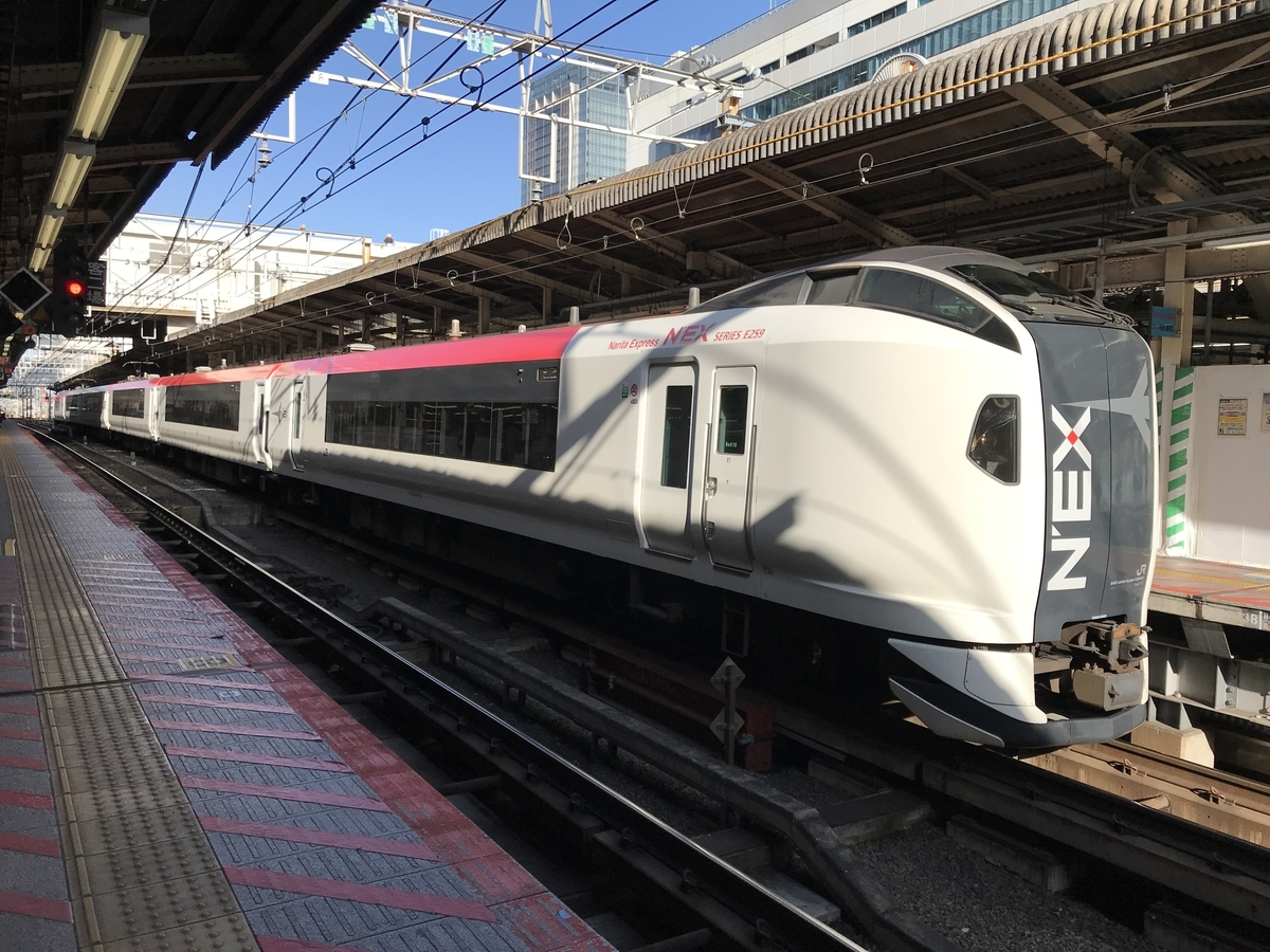 終点の横浜駅に到着した成田エクスプレス26号(横浜駅6番線・2020/2/23)
