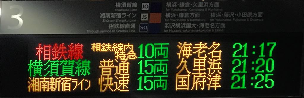 発車標に並ぶ「海老名・久里浜・国府津」という3文字の駅名(武蔵小杉3番線・2020/3/1)