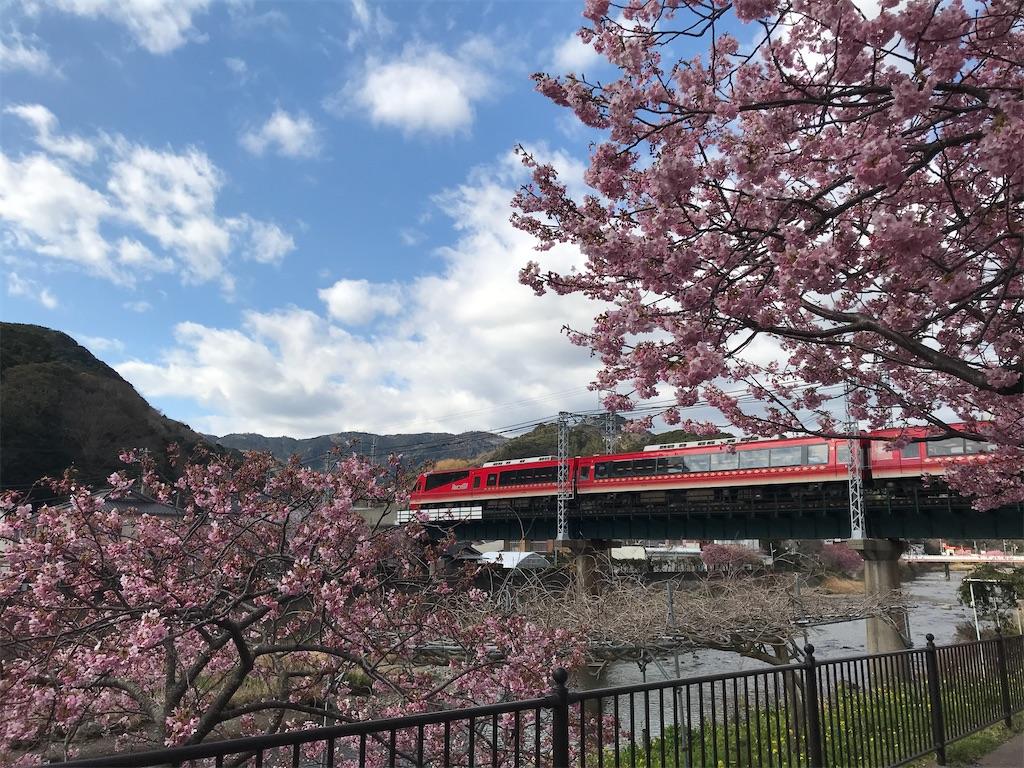 河津川を渡るリゾート21キンメ電車普通伊豆急下田行き(2020/2/11)
