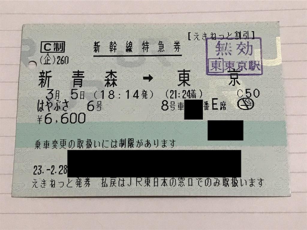E5系デビュー初日のはやぶさ6号指定券(2011/3/5乗車)