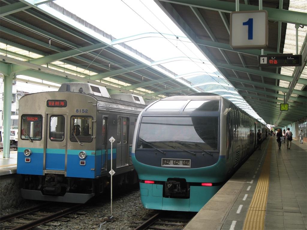 伊豆急下田駅1番線に停車中のスーパービュー踊り子10号大宮行き(2008/5/25)