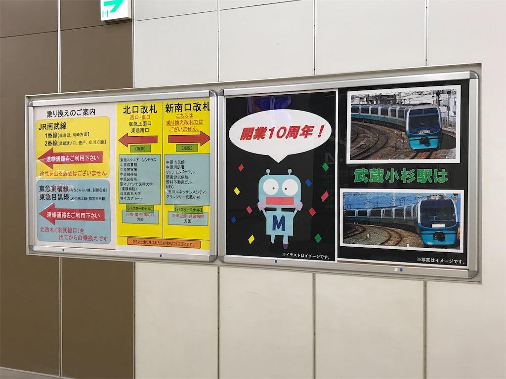「武蔵小杉は」251系スーパービュー踊り子号、「開業10周年!」武蔵小杉駅のキャラクター(ロボくん)