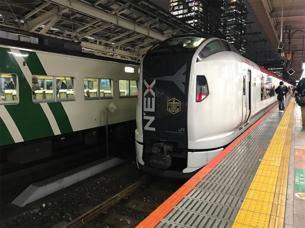 東京駅8番線に到着したE259系マリンエクスプレス踊り子76号(2020/3/2)