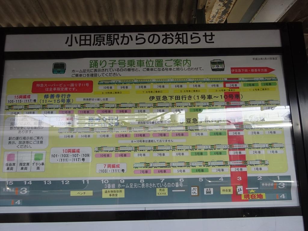 小田原駅6・7番ホームに掲示されている踊り子号乗車位置ご案内(2014/9/6)