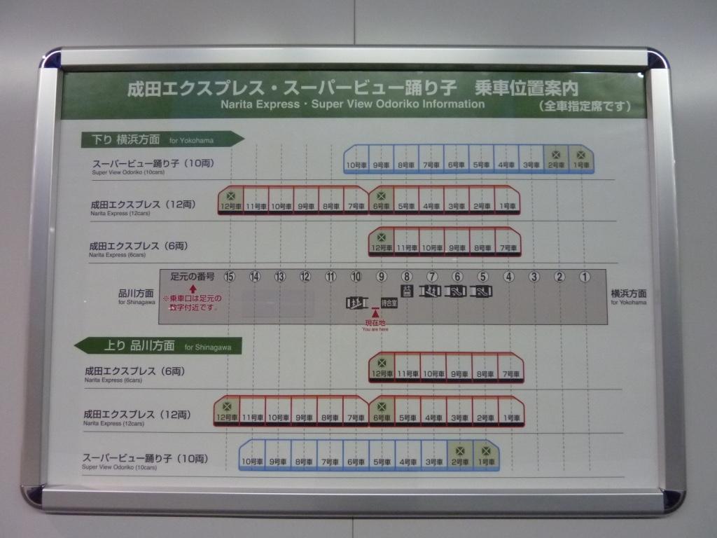 武蔵小杉駅ホーム上の成田エクスプレス・スーパービュー踊り子乗車位置案内(2010/3/13)