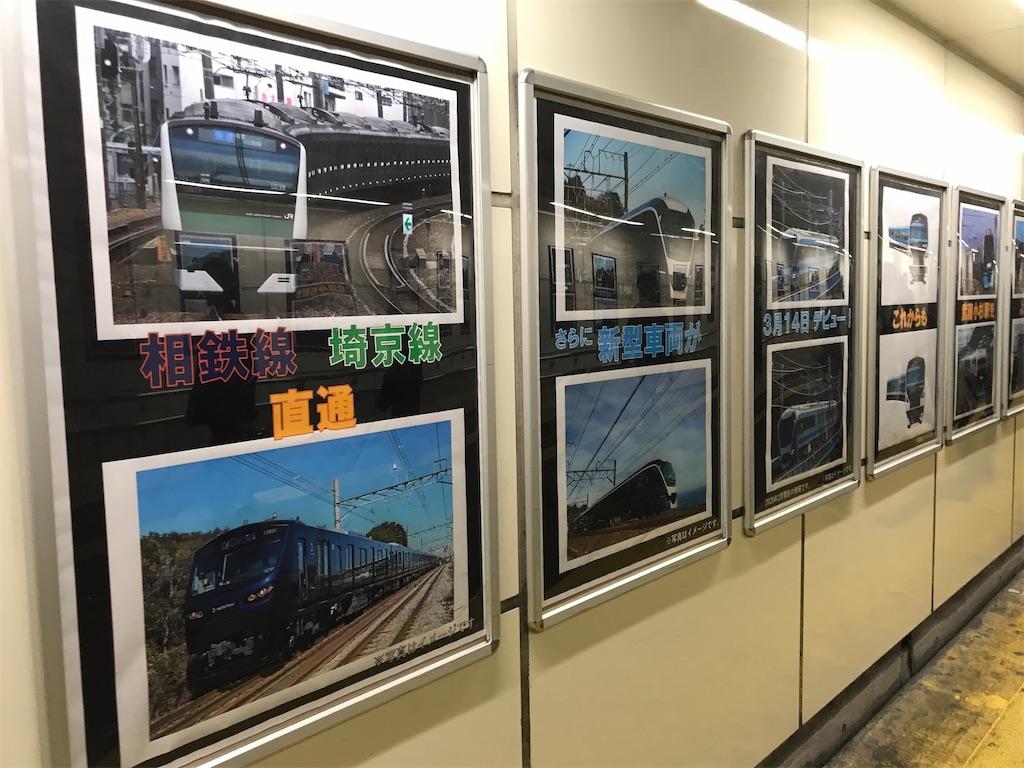 横須賀線-南武線の通路には、さらに埼京線E233系やサフィール踊り子号E261系の写真も(2020/3/10)