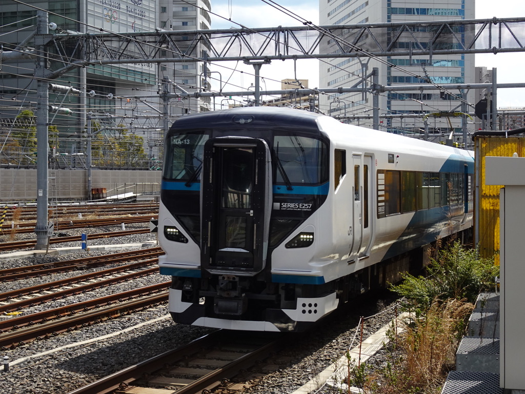 品川駅6番線に入線するE257系踊り子4号東京行き(2020/3/16)