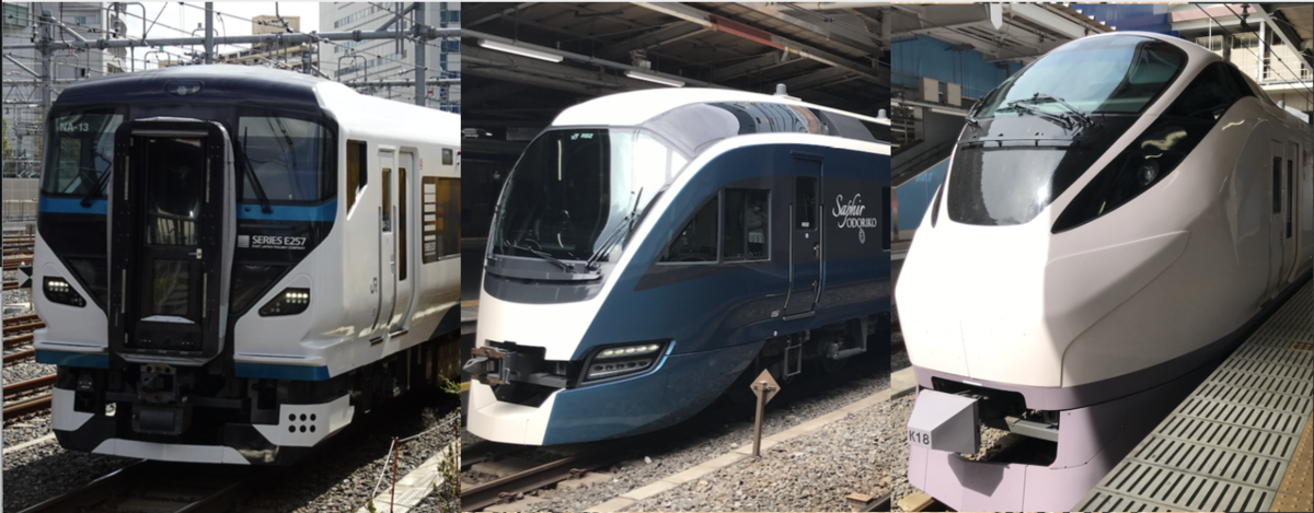 品川駅に12:30前後に発着する3本の特急列車