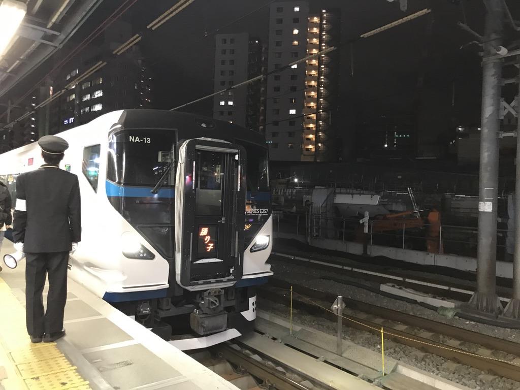 渋谷駅に到着したE257系踊り子18号池袋行き(2020/3/19)