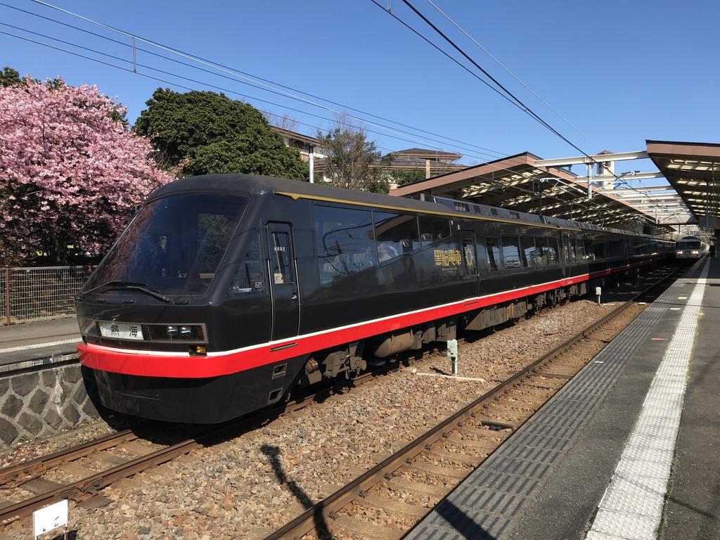 伊豆高原駅3番線に停車中のリゾート21黒船電車熱海行き(2020/2/11)