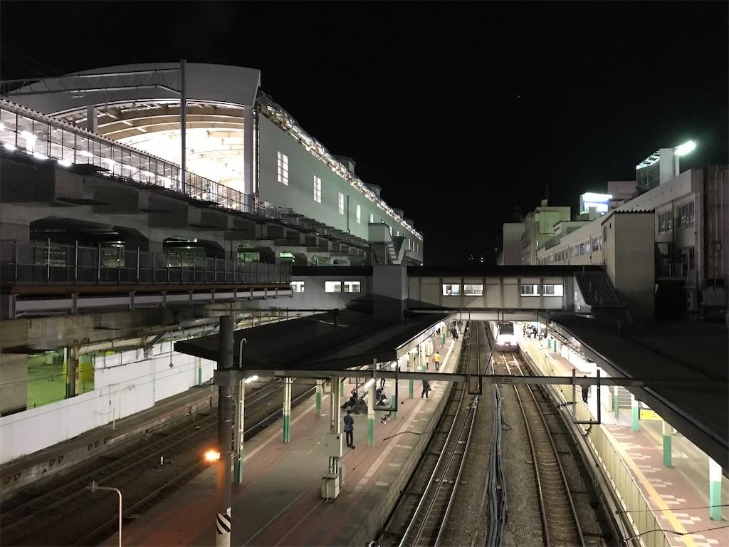 新潟駅西側の通路から眺めた地上ホーム・新高架ホーム(2018/4/13)