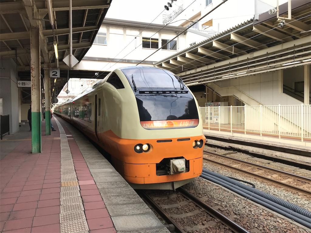 新潟駅地上2番線に停車中のE653系特急いなほ1号秋田行き(2018/4/14)