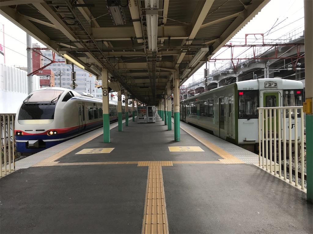 2020年現在も引き続き運用されている新潟駅地上8・9番線ホーム(2018/4/14)
