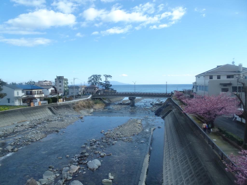 列車内から見た白田川河口(2020/2/11)