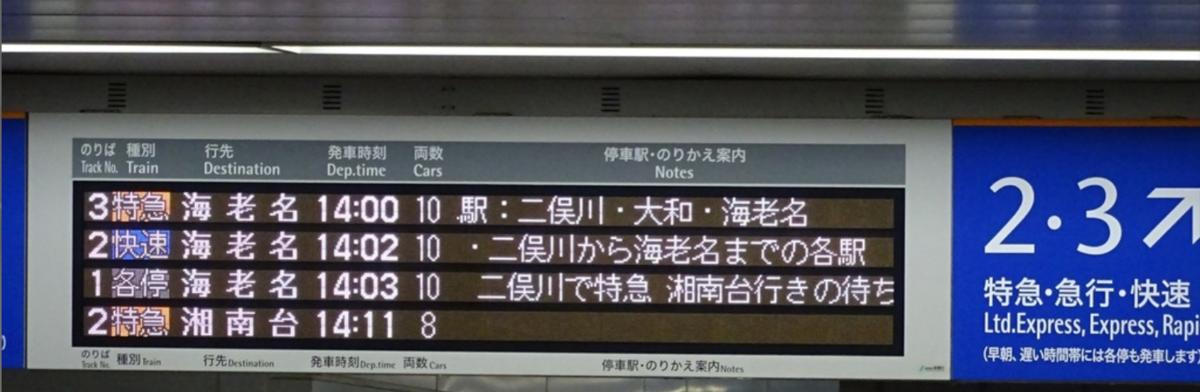 相鉄特急運転開始初日14時前の横浜駅発車標(2014/4/27)