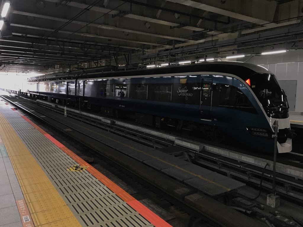 新宿駅5番線に停車中のE261系サフィール踊り子5号伊豆急下田行き(2020/3/22)