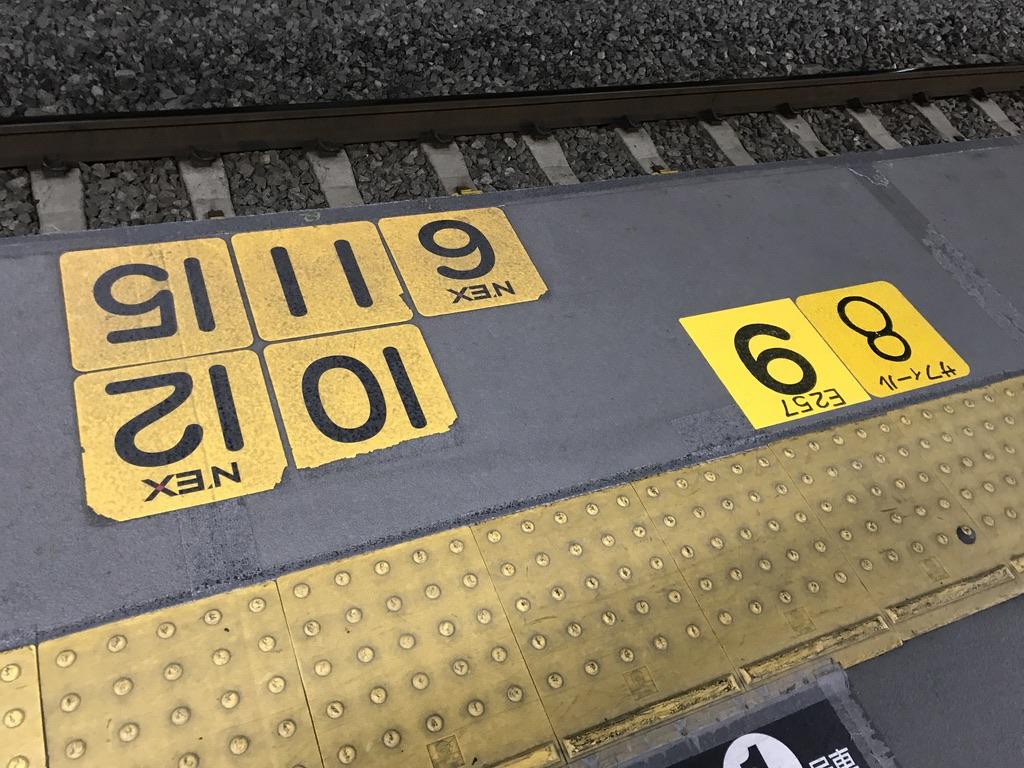 サフィール踊り子・E257系の停車位置が追加された移設前の渋谷駅4番線(2020/3/16)