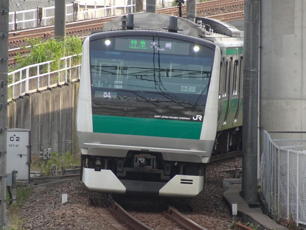 まもなく二俣川駅に到着する相鉄JR直通線E233系特急大崎行き(2020/5/30)