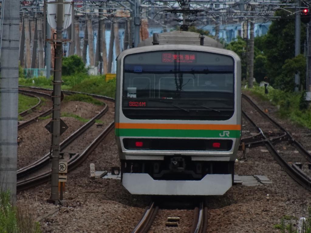 川崎駅を出発し多摩川へと差し掛かるE231系快速アクティー品川行き(2020/5/31)