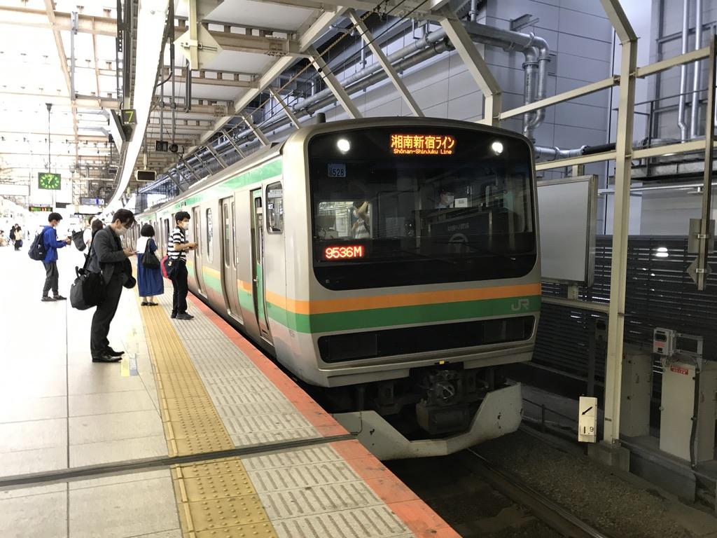 横浜駅10番線に到着したE231系10両湘南新宿ライン普通大崎行き(2020/5/31)